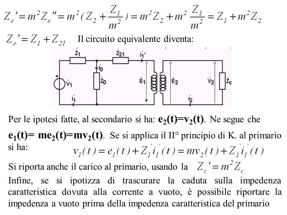 Il circuito equivalente diventa: Per le ipotesi fatte, al secondario si ha: e 2 (t)=v 2 (t). Ne segue che e 1 (t)= me 2 (t)=mv 2 (t). Se si applica il
