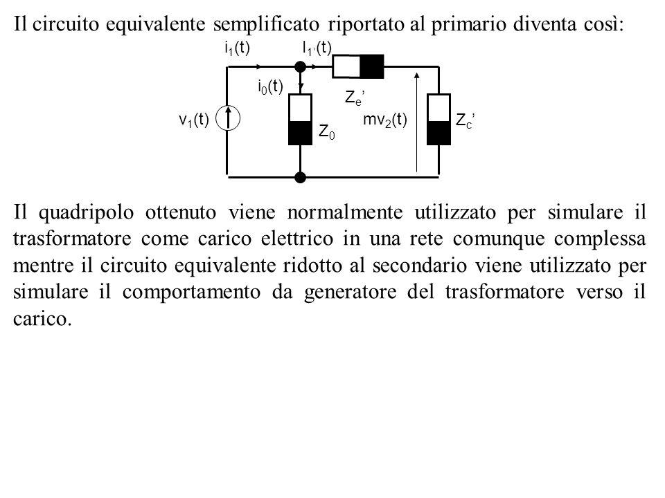 Il circuito equivalente semplificato riportato al primario diventa così: Il quadripolo ottenuto viene normalmente utilizzato per simulare il trasforma