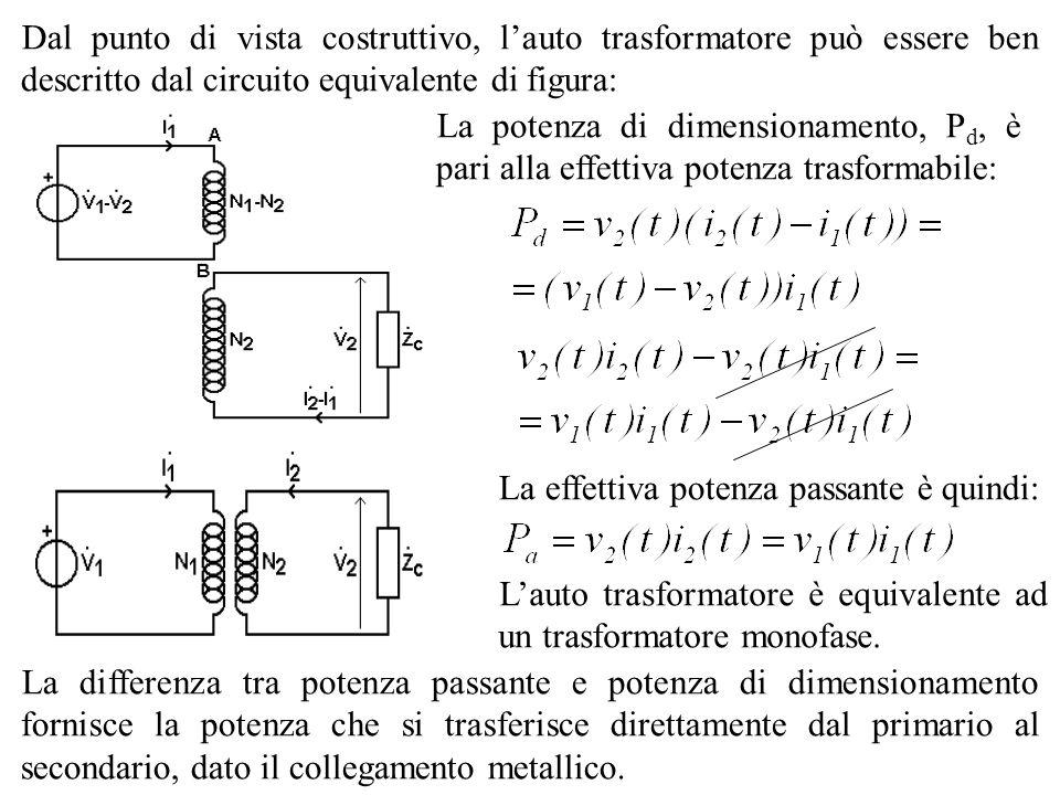 Dal punto di vista costruttivo, lauto trasformatore può essere ben descritto dal circuito equivalente di figura: La potenza di dimensionamento, P d, è