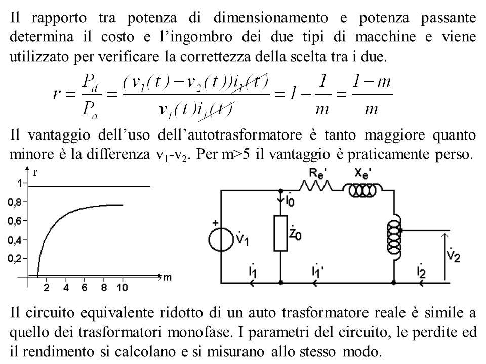 Il rapporto tra potenza di dimensionamento e potenza passante determina il costo e lingombro dei due tipi di macchine e viene utilizzato per verificar