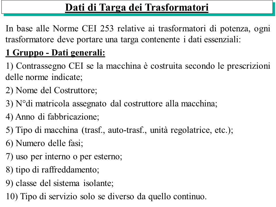 Dati di Targa dei Trasformatori In base alle Norme CEI 253 relative ai trasformatori di potenza, ogni trasformatore deve portare una targa contenente