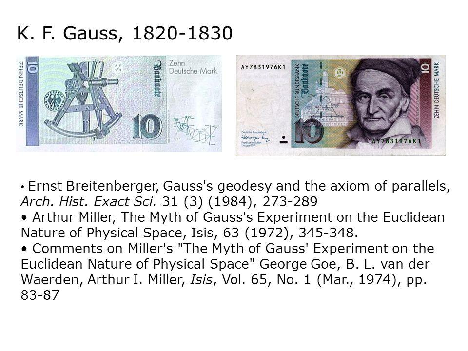 Karl Friedrich Gauss Gauss scoprì nei primi anni dell'Ottocento le geometrie non euclidee, ma non pubblicò nulla in proposito