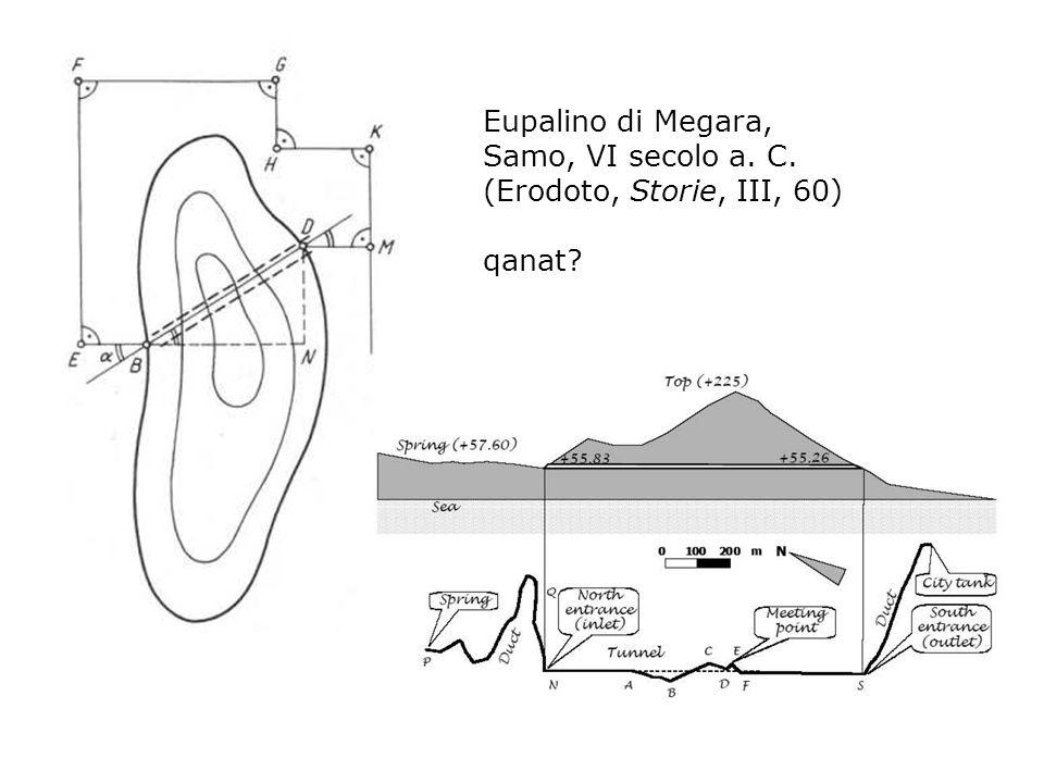 Eupalino di Megara, Samo, VI secolo a. C. (Erodoto, Storie, III, 60) qanat?