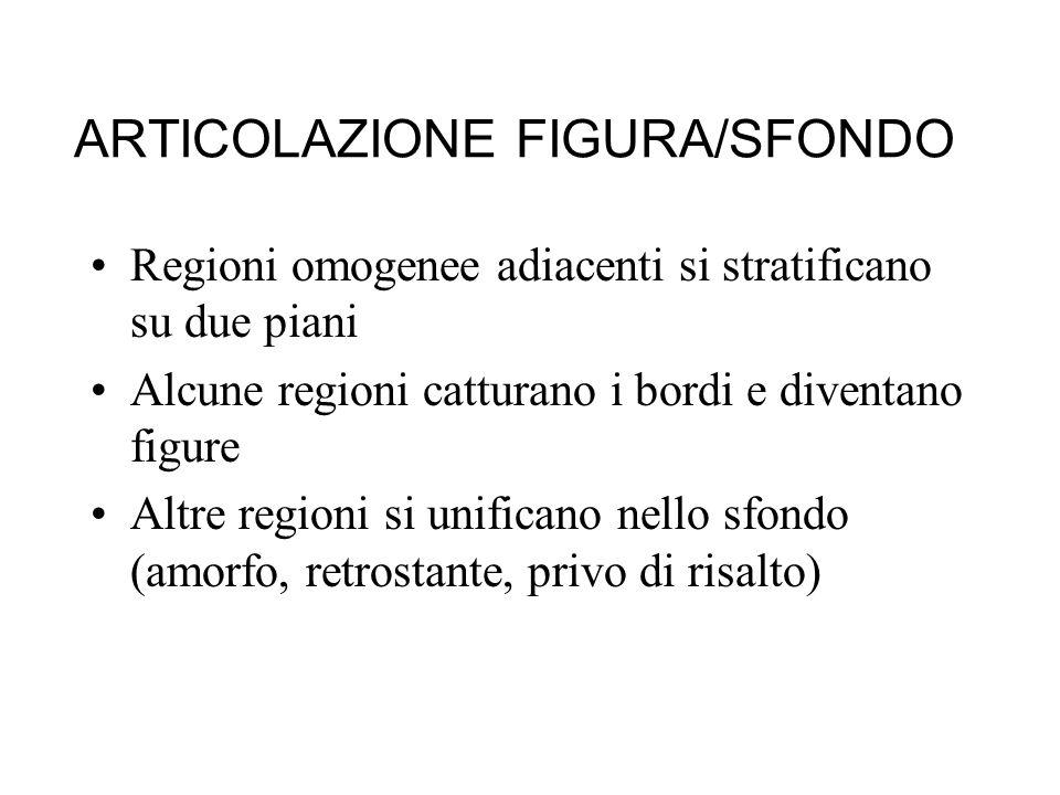 ARTICOLAZIONE FIGURA/SFONDO Regioni omogenee adiacenti si stratificano su due piani Alcune regioni catturano i bordi e diventano figure Altre regioni si unificano nello sfondo (amorfo, retrostante, privo di risalto)