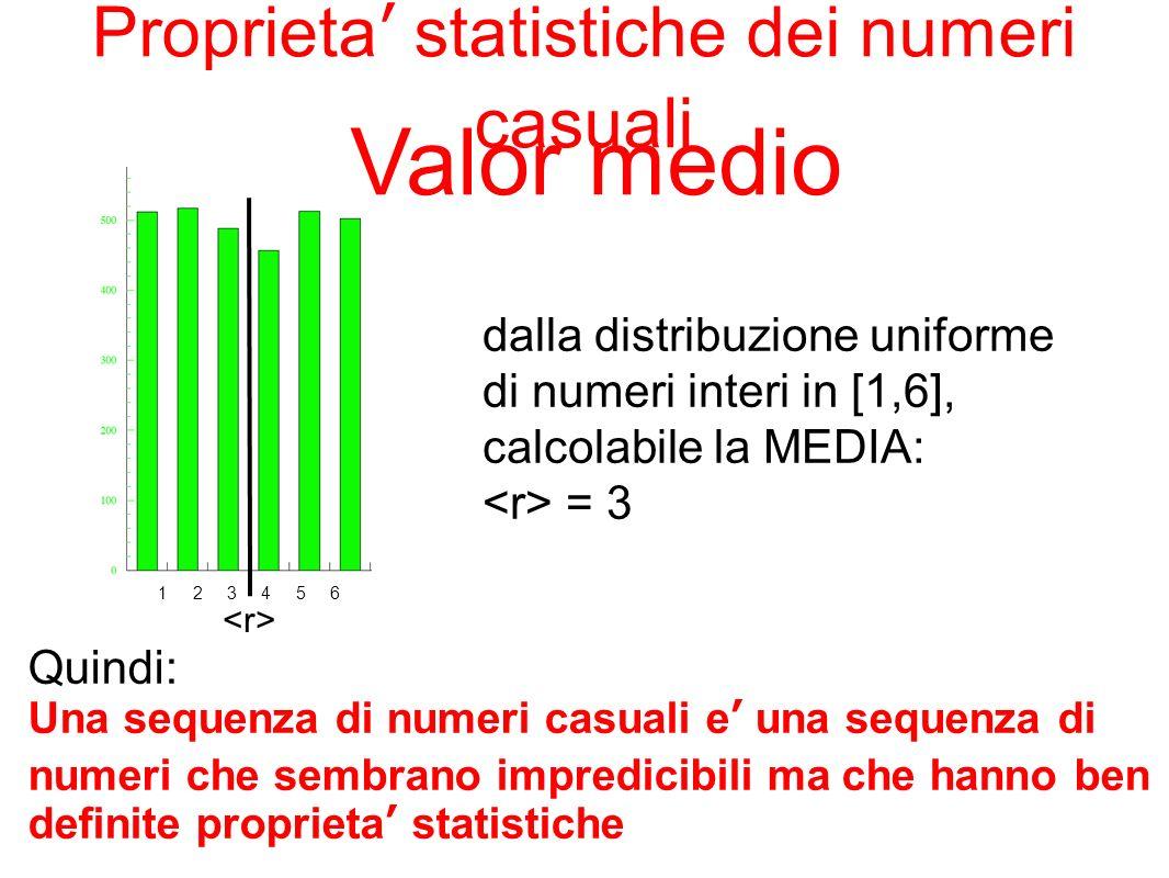 Quindi: Una sequenza di numeri casuali e una sequenza di numeri che sembrano impredicibili ma che hanno ben definite proprieta statistiche dalla distr