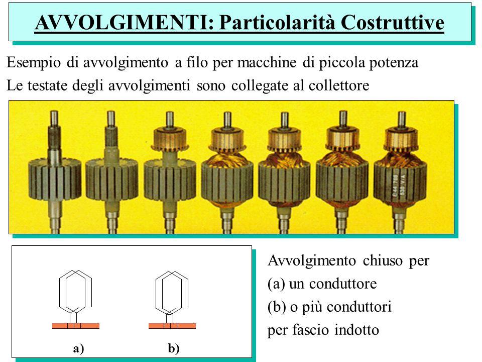 Esempio di avvolgimento a filo per macchine di piccola potenza Le testate degli avvolgimenti sono collegate al collettore a) b) Avvolgimento chiuso pe