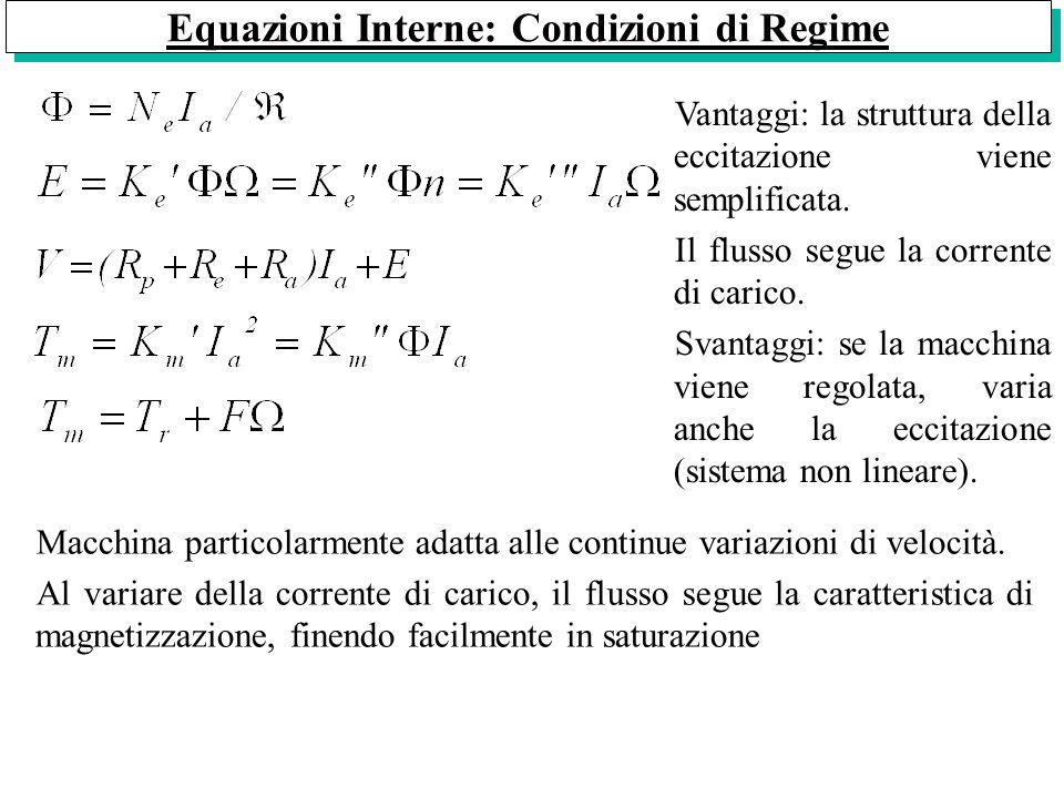 Equazioni Interne: Condizioni di Regime Vantaggi: la struttura della eccitazione viene semplificata. Il flusso segue la corrente di carico. Svantaggi: