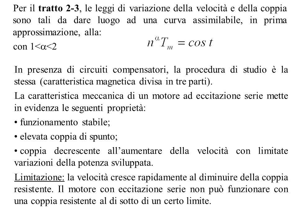 Per il tratto 2-3, le leggi di variazione della velocità e della coppia sono tali da dare luogo ad una curva assimilabile, in prima approssimazione, a
