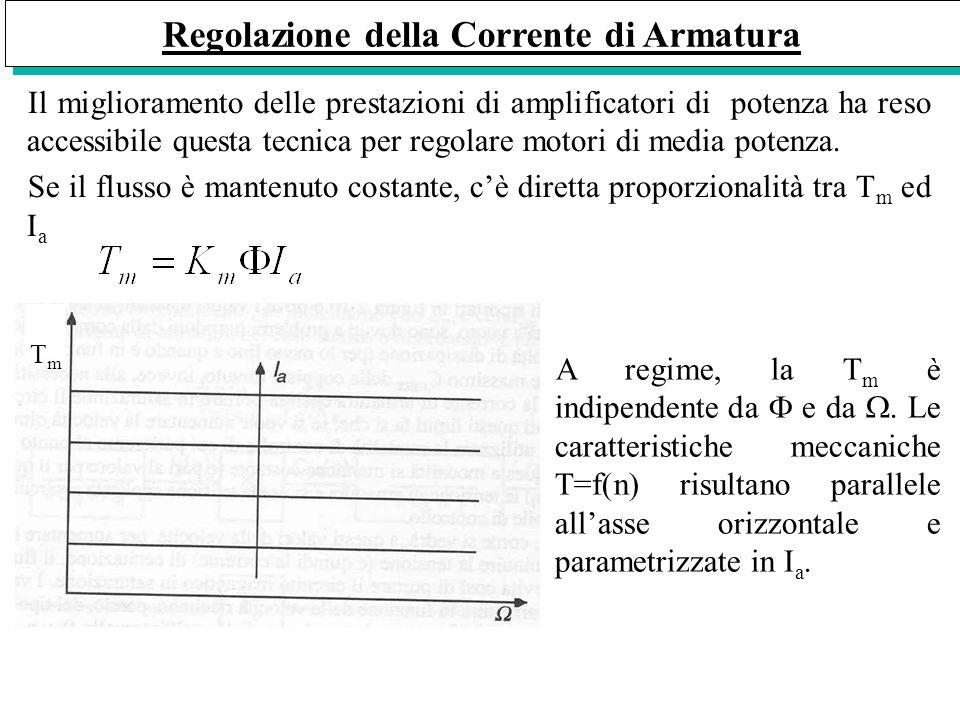 Regolazione della Corrente di Armatura Il miglioramento delle prestazioni di amplificatori di potenza ha reso accessibile questa tecnica per regolare