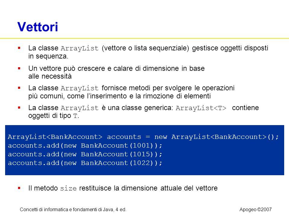 Concetti di informatica e fondamenti di Java, 4 ed.Apogeo ©2007 Vettori La classe ArrayList (vettore o lista sequenziale) gestisce oggetti disposti in