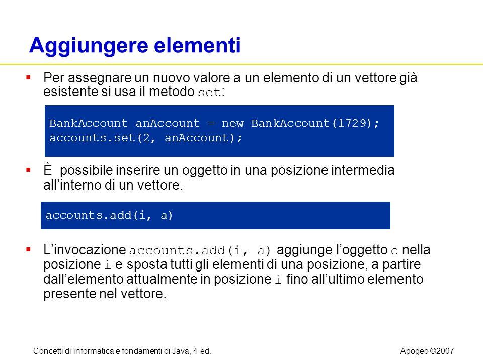Concetti di informatica e fondamenti di Java, 4 ed.Apogeo ©2007 Aggiungere elementi Per assegnare un nuovo valore a un elemento di un vettore già esis