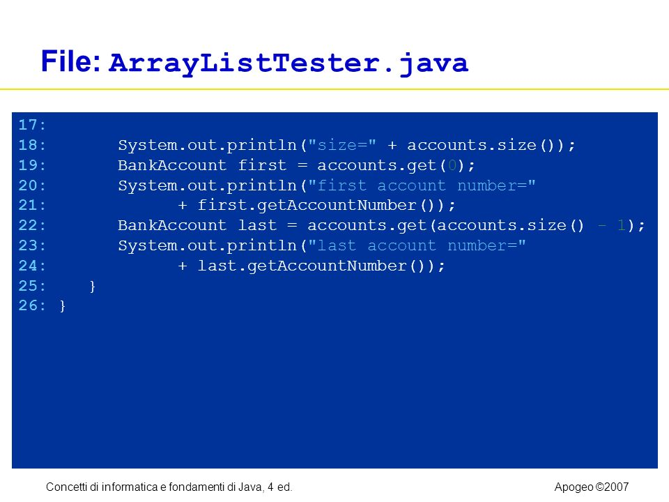 Concetti di informatica e fondamenti di Java, 4 ed.Apogeo ©2007 File: ArrayListTester.java 17: 18: System.out.println( size= + accounts.size()); 19: BankAccount first = accounts.get(0); 20: System.out.println( first account number= 21: + first.getAccountNumber()); 22: BankAccount last = accounts.get(accounts.size() - 1); 23: System.out.println( last account number= 24: + last.getAccountNumber()); 25: } 26: }