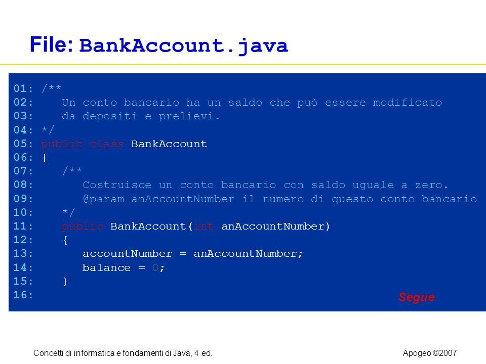 Concetti di informatica e fondamenti di Java, 4 ed.Apogeo ©2007 File: BankAccount.java 01: /** 02: Un conto bancario ha un saldo che può essere modifi