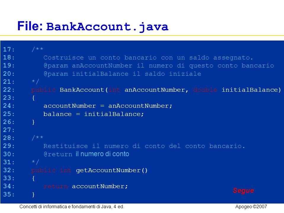 Concetti di informatica e fondamenti di Java, 4 ed.Apogeo ©2007 File: BankAccount.java 17: /** 18: Costruisce un conto bancario con un saldo assegnato