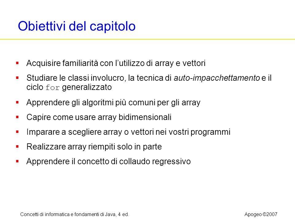 Concetti di informatica e fondamenti di Java, 4 ed.Apogeo ©2007 Obiettivi del capitolo Acquisire familiarità con lutilizzo di array e vettori Studiare