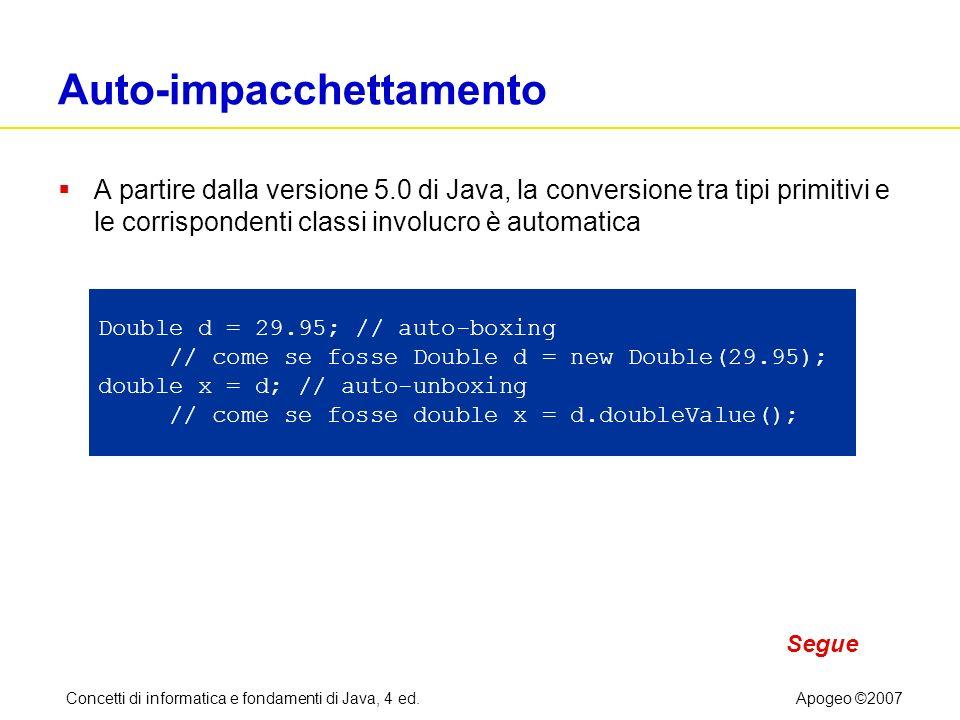 Concetti di informatica e fondamenti di Java, 4 ed.Apogeo ©2007 Auto-impacchettamento A partire dalla versione 5.0 di Java, la conversione tra tipi pr