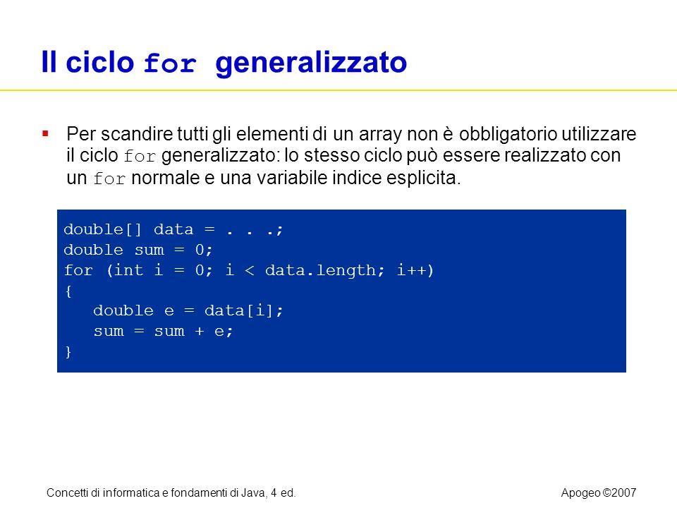 Concetti di informatica e fondamenti di Java, 4 ed.Apogeo ©2007 Il ciclo for generalizzato Per scandire tutti gli elementi di un array non è obbligato