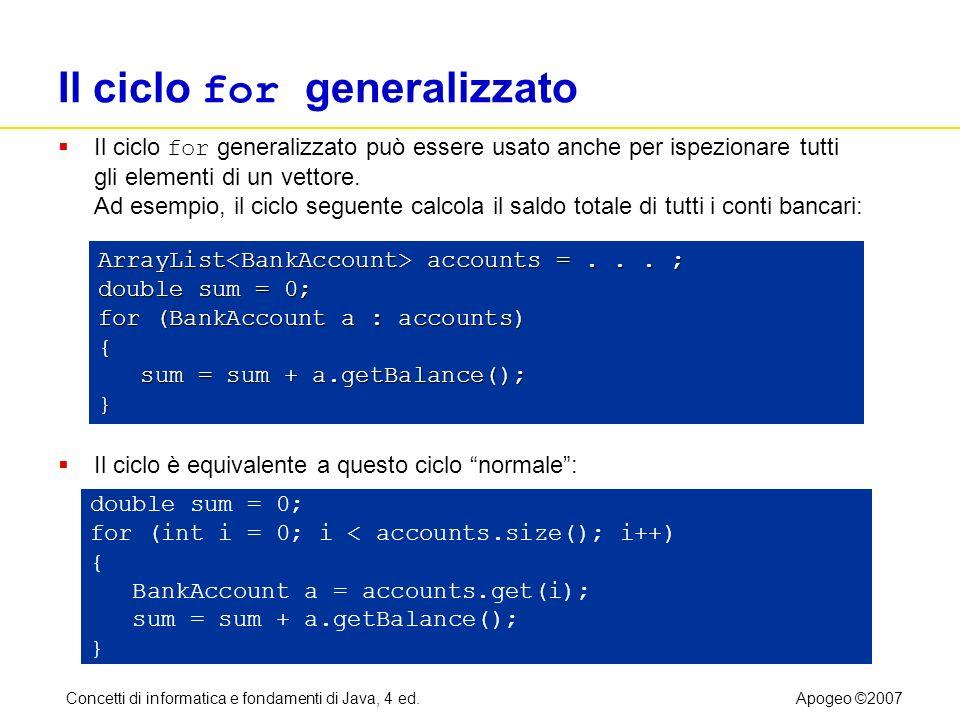 Concetti di informatica e fondamenti di Java, 4 ed.Apogeo ©2007 Il ciclo for generalizzato Il ciclo for generalizzato può essere usato anche per ispez