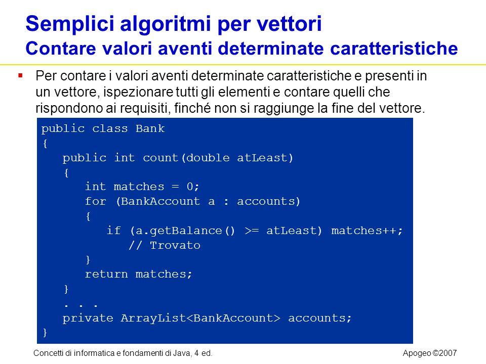 Concetti di informatica e fondamenti di Java, 4 ed.Apogeo ©2007 Semplici algoritmi per vettori Contare valori aventi determinate caratteristiche Per c