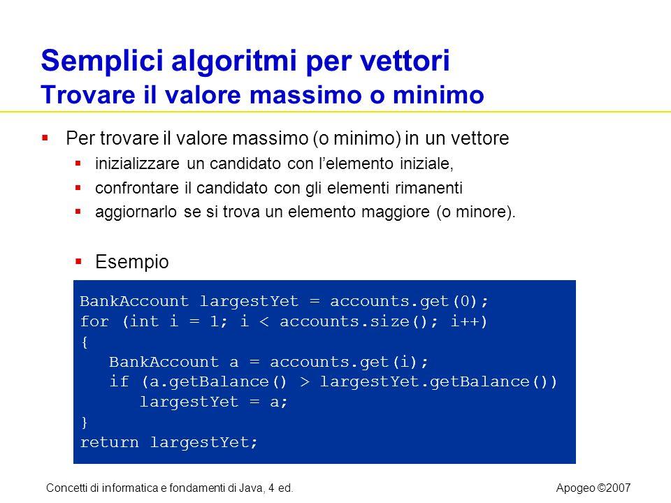 Concetti di informatica e fondamenti di Java, 4 ed.Apogeo ©2007 Semplici algoritmi per vettori Trovare il valore massimo o minimo Per trovare il valor