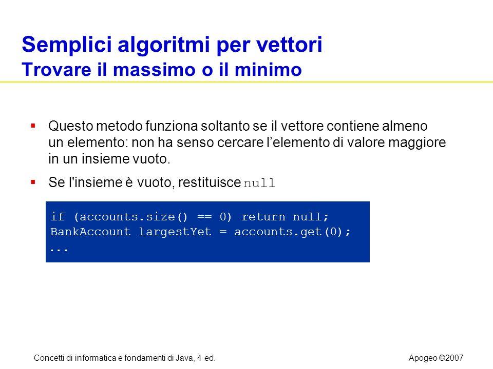Concetti di informatica e fondamenti di Java, 4 ed.Apogeo ©2007 Semplici algoritmi per vettori Trovare il massimo o il minimo Questo metodo funziona s