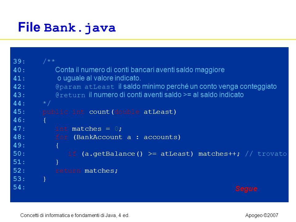 Concetti di informatica e fondamenti di Java, 4 ed.Apogeo ©2007 File Bank.java 39: /** 40: Conta il numero di conti bancari aventi saldo maggiore 41: