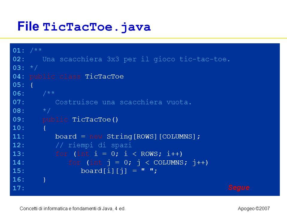 Concetti di informatica e fondamenti di Java, 4 ed.Apogeo ©2007 File TicTacToe.java 01: /** 02: Una scacchiera 3x3 per il gioco tic-tac-toe. 03: */ 04