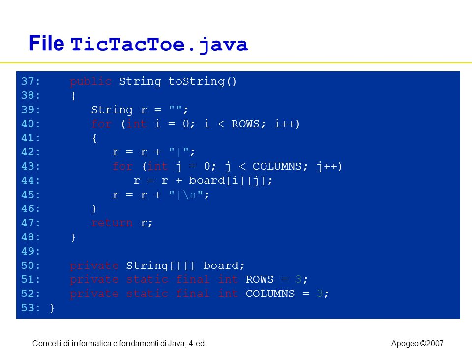 Concetti di informatica e fondamenti di Java, 4 ed.Apogeo ©2007 File TicTacToe.java 37: public String toString() 38: { 39: String r = ; 40: for (int i = 0; i < ROWS; i++) 41: { 42: r = r + | ; 43: for (int j = 0; j < COLUMNS; j++) 44: r = r + board[i][j]; 45: r = r + |\n ; 46: } 47: return r; 48: } 49: 50: private String[][] board; 51: private static final int ROWS = 3; 52: private static final int COLUMNS = 3; 53: }