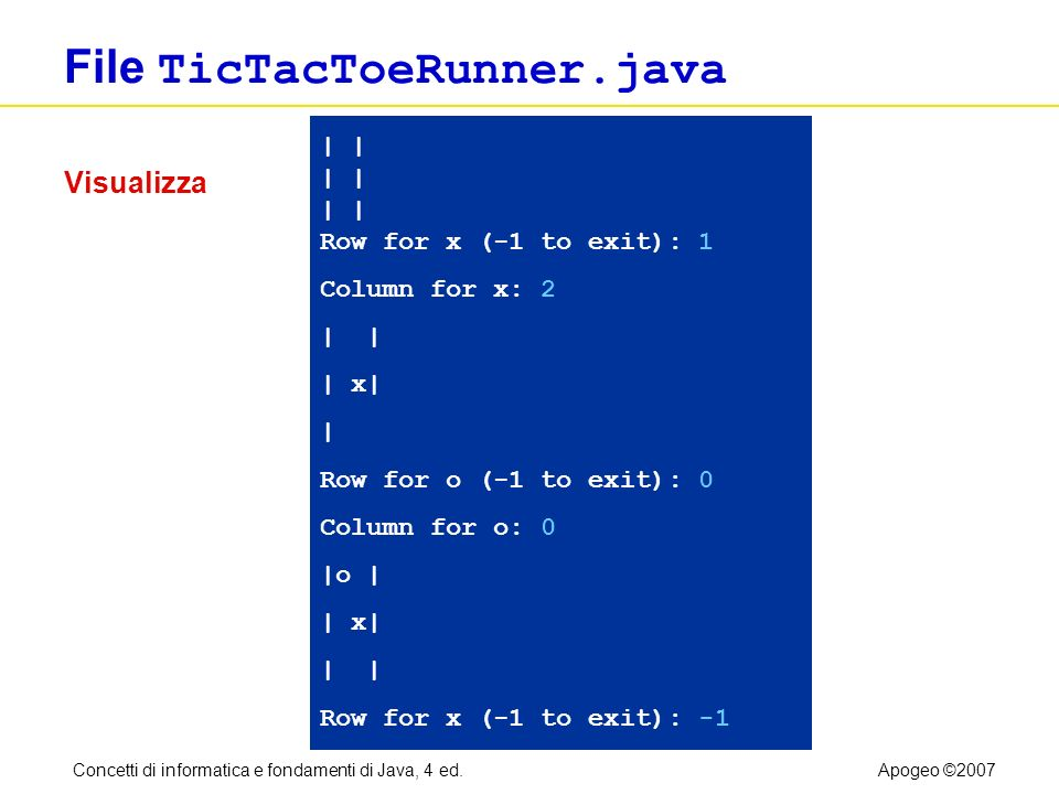 Concetti di informatica e fondamenti di Java, 4 ed.Apogeo ©2007 File TicTacToeRunner.java | | | | | | Row for x (-1 to exit): 1 Column for x: 2 | | x| | Row for o (-1 to exit): 0 Column for o: 0 |o | | x| | Row for x (-1 to exit): -1 Visualizza
