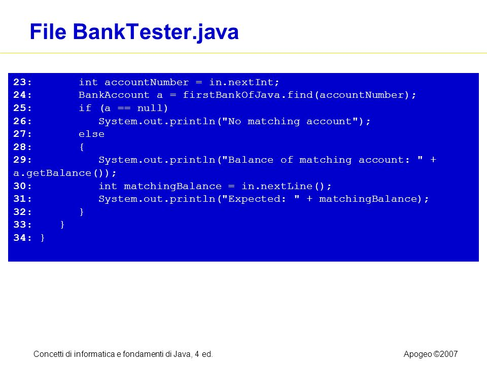 Concetti di informatica e fondamenti di Java, 4 ed.Apogeo ©2007 File BankTester.java 23: int accountNumber = in.nextInt; 24: BankAccount a = firstBankOfJava.find(accountNumber); 25: if (a == null) 26: System.out.println( No matching account ); 27: else 28: { 29: System.out.println( Balance of matching account: + a.getBalance()); 30: int matchingBalance = in.nextLine(); 31: System.out.println( Expected: + matchingBalance); 32: } 33: } 34: }