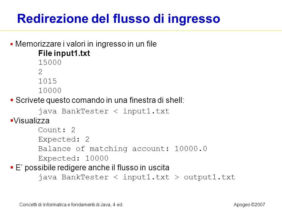 Concetti di informatica e fondamenti di Java, 4 ed.Apogeo ©2007 Redirezione del flusso di ingresso Memorizzare i valori in ingresso in un file File in