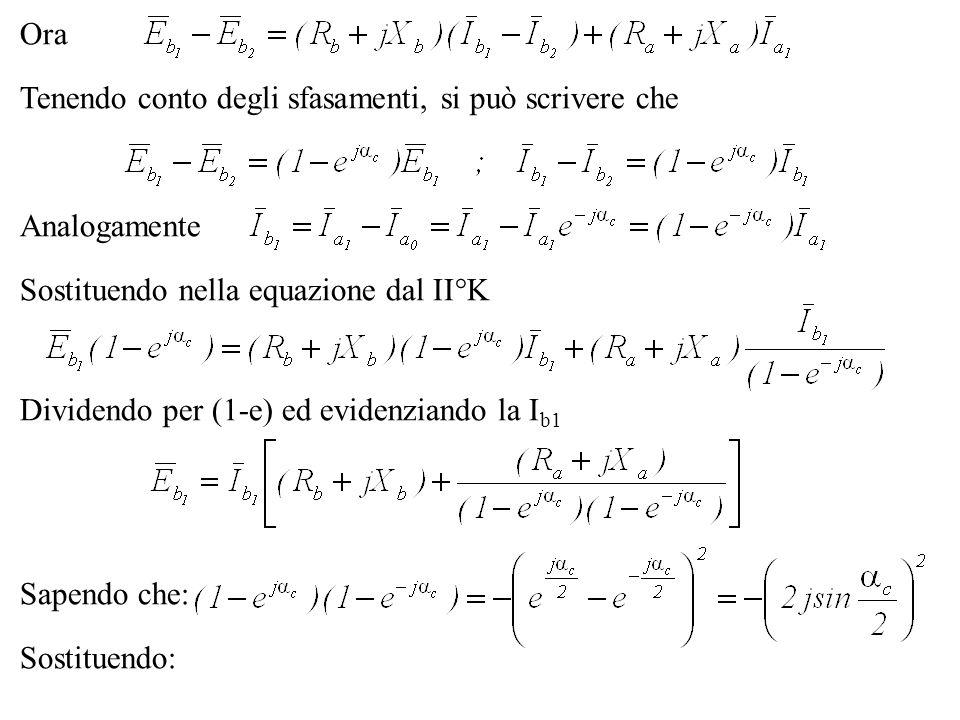 Ora Sostituendo nella equazione dal II°K Tenendo conto degli sfasamenti, si può scrivere che Analogamente Dividendo per (1-e) ed evidenziando la I b1