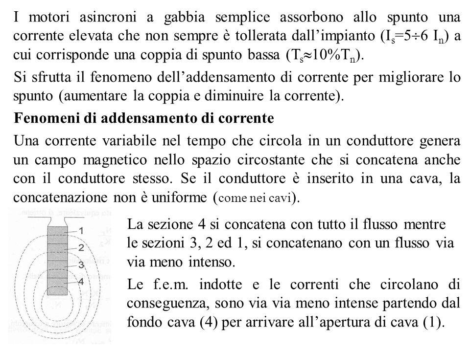 I motori asincroni a gabbia semplice assorbono allo spunto una corrente elevata che non sempre è tollerata dallimpianto (I s =5 6 I n ) a cui corrispo