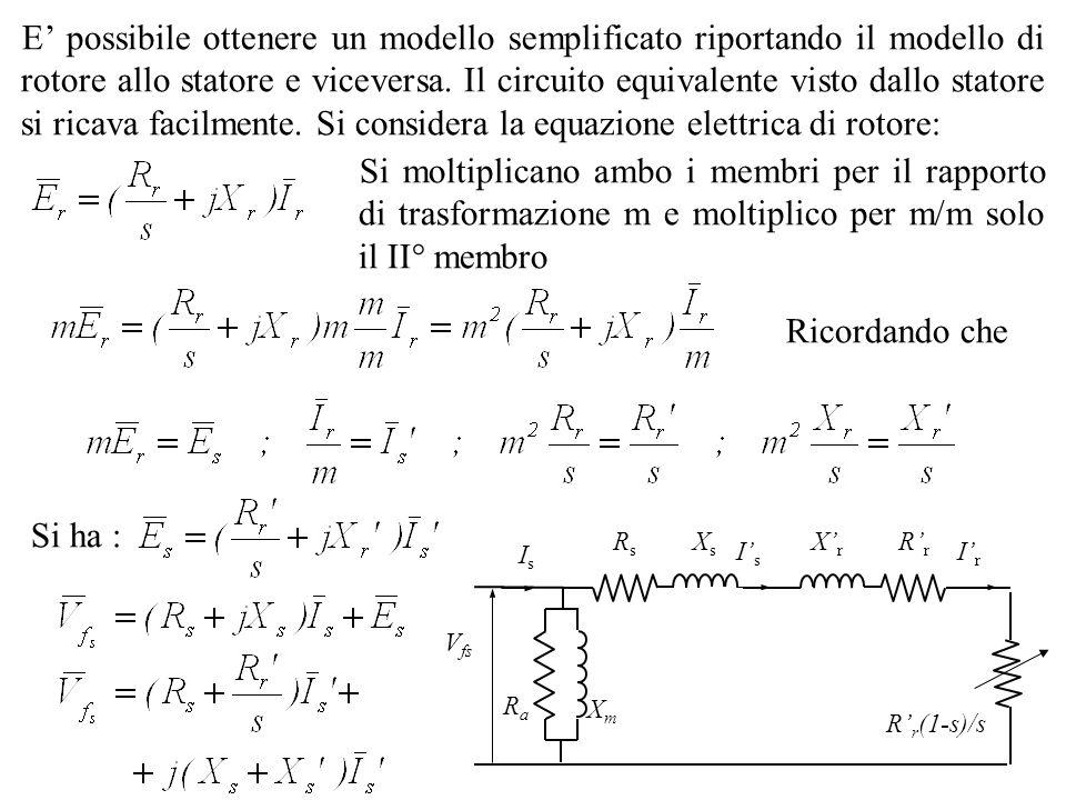 E possibile ottenere un modello semplificato riportando il modello di rotore allo statore e viceversa. Il circuito equivalente visto dallo statore si