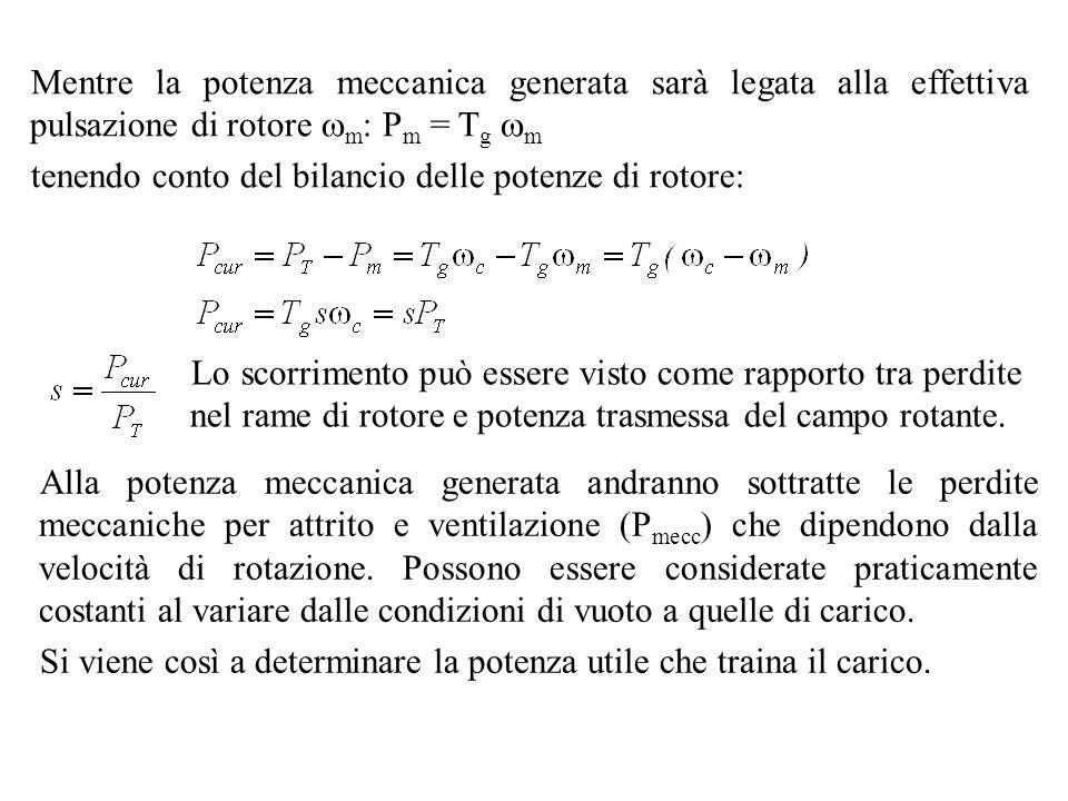 Mentre la potenza meccanica generata sarà legata alla effettiva pulsazione di rotore m : P m = T g m tenendo conto del bilancio delle potenze di rotor