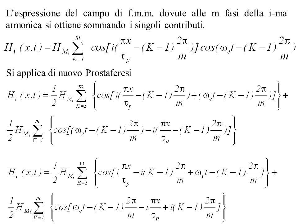 Lespressione del campo di f.m.m. dovute alle m fasi della i-ma armonica si ottiene sommando i singoli contributi. Si applica di nuovo Prostaferesi