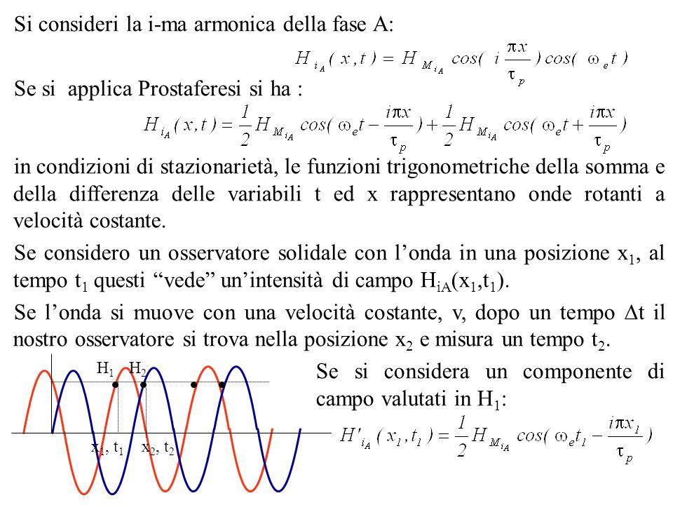 Si consideri la i-ma armonica della fase A: Se si applica Prostaferesi si ha : in condizioni di stazionarietà, le funzioni trigonometriche della somma