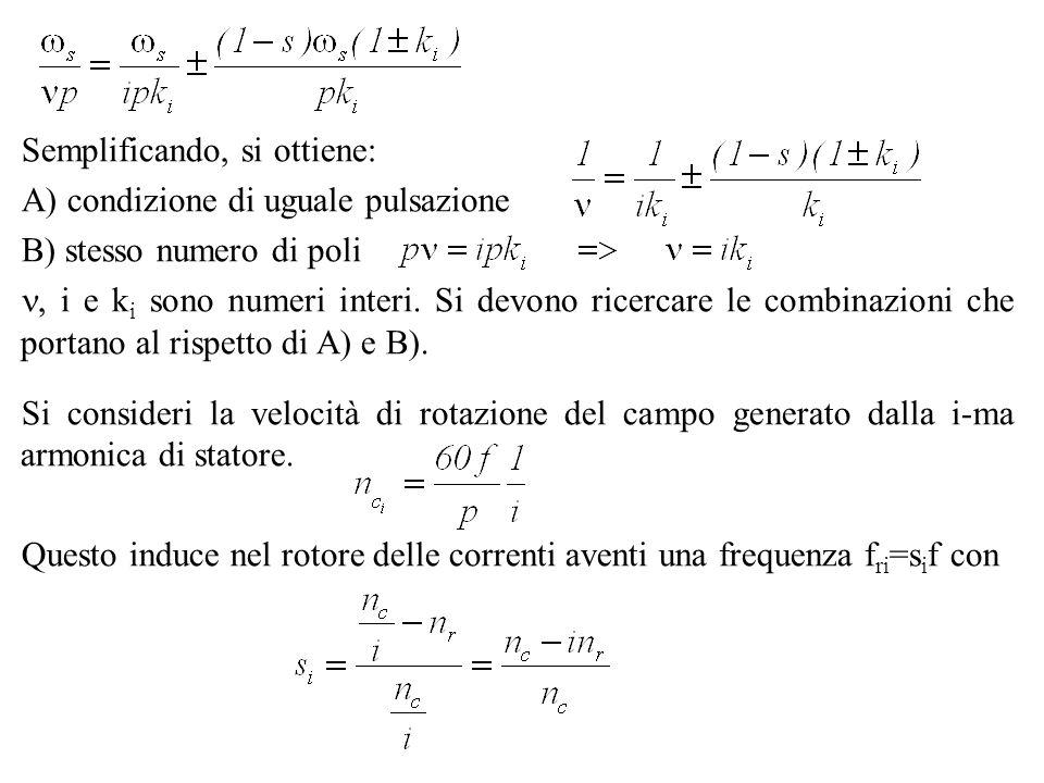 Semplificando, si ottiene: A) condizione di uguale pulsazione B) stesso numero di poli, i e k i sono numeri interi. Si devono ricercare le combinazion