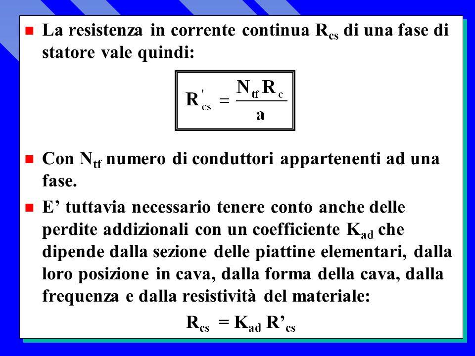 n La resistenza in corrente continua R cs di una fase di statore vale quindi: n Con N tf numero di conduttori appartenenti ad una fase.