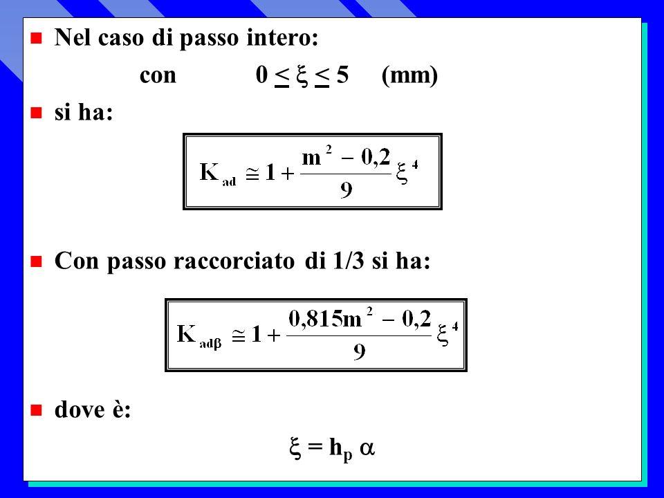 n Nel caso di passo intero: con 0 < < 5 (mm) n si ha: n Con passo raccorciato di 1/3 si ha: n dove è: = h p n Nel caso di passo intero: con 0 < < 5 (mm) n si ha: n Con passo raccorciato di 1/3 si ha: n dove è: = h p