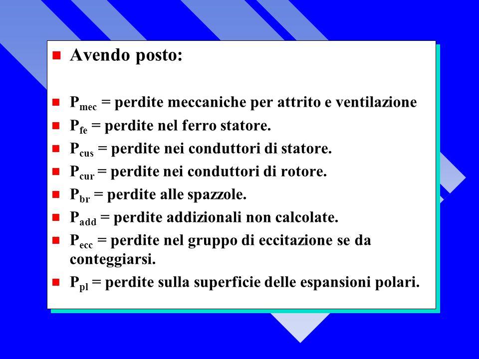 n Avendo posto: n P mec = perdite meccaniche per attrito e ventilazione n P fe = perdite nel ferro statore.