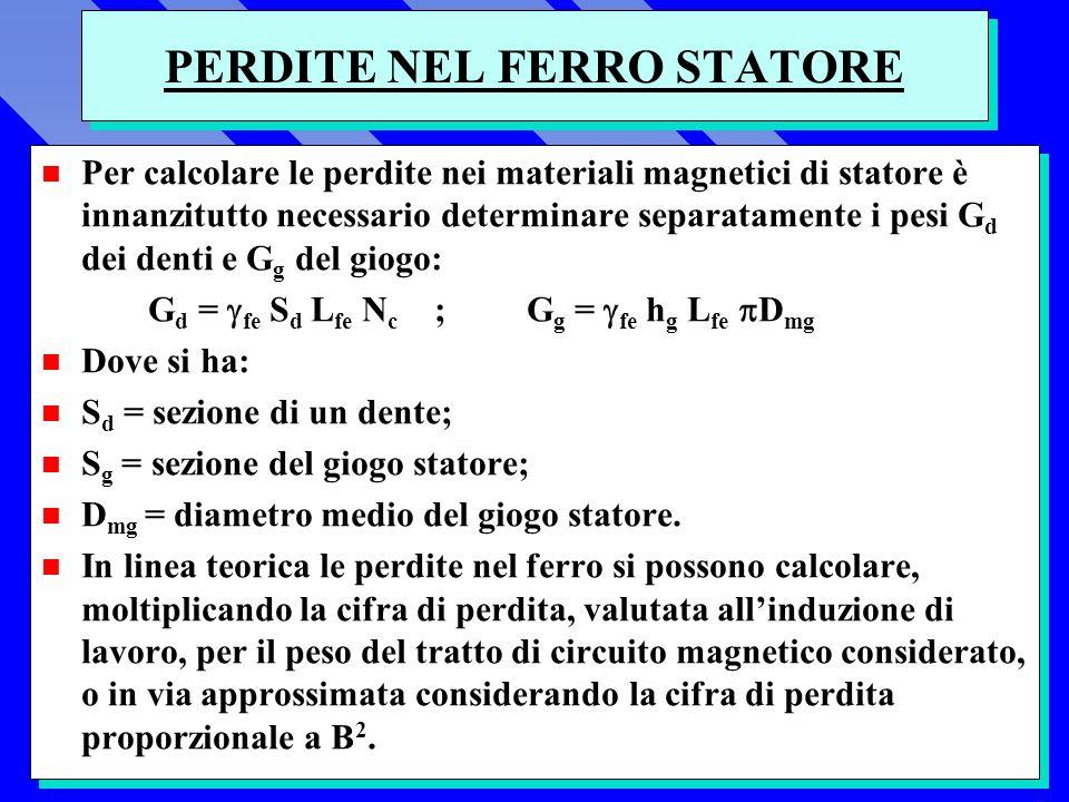 PERDITE NEL FERRO STATORE n Per calcolare le perdite nei materiali magnetici di statore è innanzitutto necessario determinare separatamente i pesi G d dei denti e G g del giogo: G d = fe S d L fe N c ; G g = fe h g L fe D mg n Dove si ha: n S d = sezione di un dente; n S g = sezione del giogo statore; n D mg = diametro medio del giogo statore.