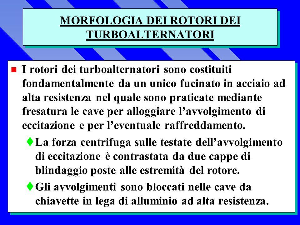 MORFOLOGIA DEI ROTORI DEI TURBOALTERNATORI n I rotori dei turboalternatori sono costituiti fondamentalmente da un unico fucinato in acciaio ad alta resistenza nel quale sono praticate mediante fresatura le cave per alloggiare lavvolgimento di eccitazione e per leventuale raffreddamento.