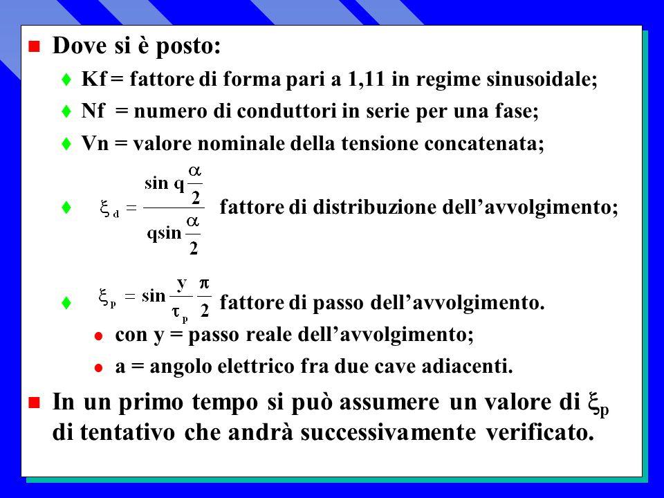 n Dove si è posto: t Kf = fattore di forma pari a 1,11 in regime sinusoidale; t Nf = numero di conduttori in serie per una fase; t Vn = valore nominale della tensione concatenata; t fattore di distribuzione dellavvolgimento; t fattore di passo dellavvolgimento.