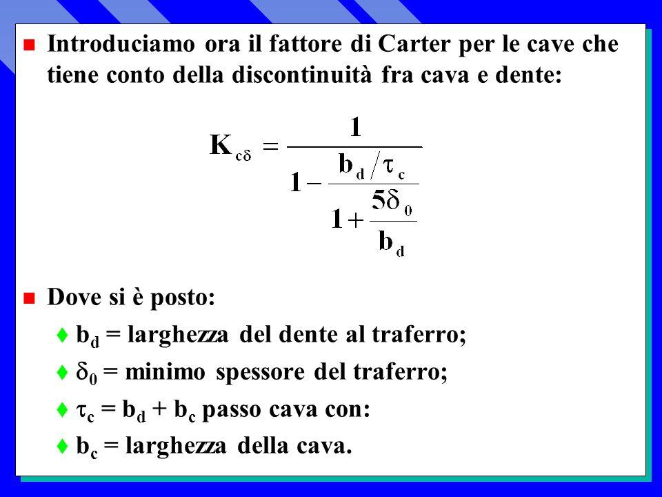 n Introduciamo ora il fattore di Carter per le cave che tiene conto della discontinuità fra cava e dente: n Dove si è posto: t b d = larghezza del dente al traferro; 0 = minimo spessore del traferro; c = b d + b c passo cava con: t b c = larghezza della cava.