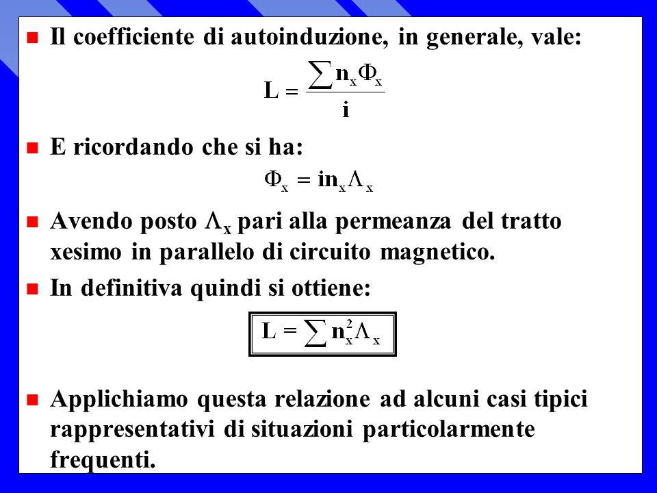 n Il coefficiente di autoinduzione, in generale, vale: n E ricordando che si ha: Avendo posto x pari alla permeanza del tratto xesimo in parallelo di circuito magnetico.