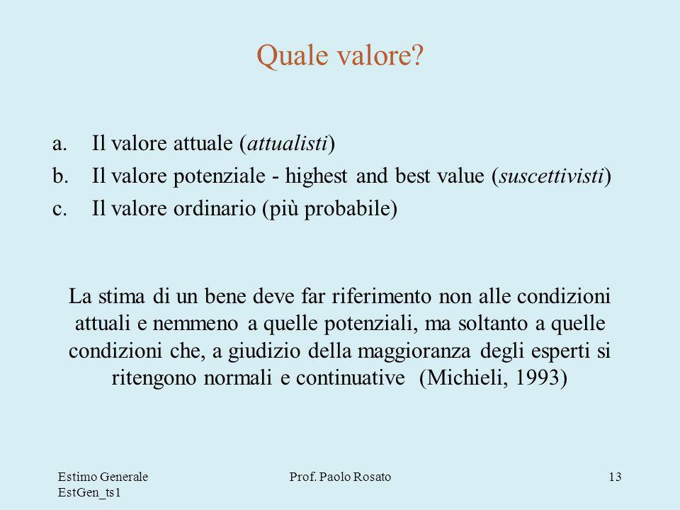 Estimo Generale EstGen_ts1 Prof.Paolo Rosato13 Quale valore.