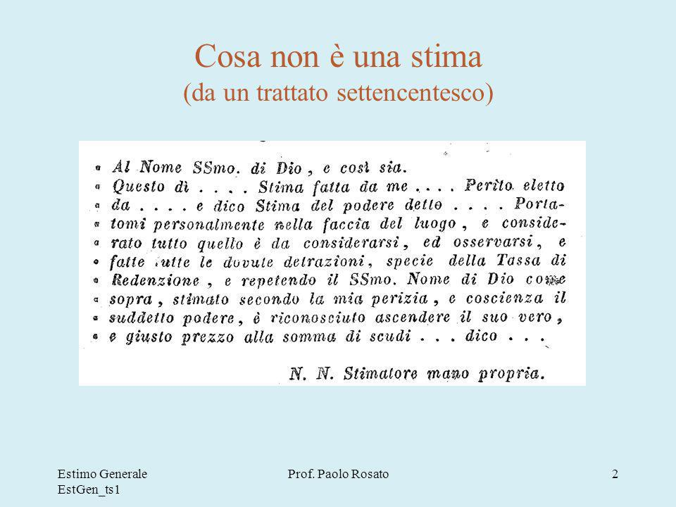 Estimo Generale EstGen_ts1 Prof. Paolo Rosato2 Cosa non è una stima (da un trattato settencentesco)