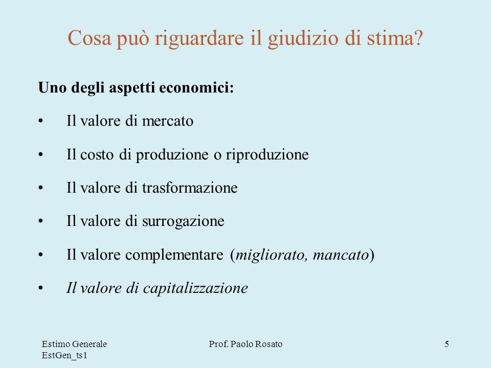 Estimo Generale EstGen_ts1 Prof.Paolo Rosato5 Cosa può riguardare il giudizio di stima.