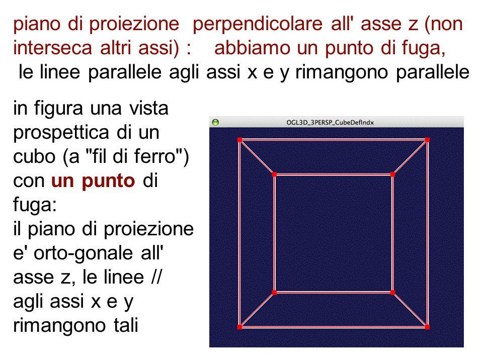 piano di proiezione perpendicolare all' asse z (non interseca altri assi) : abbiamo un punto di fuga, le linee parallele agli assi x e y rimangono par
